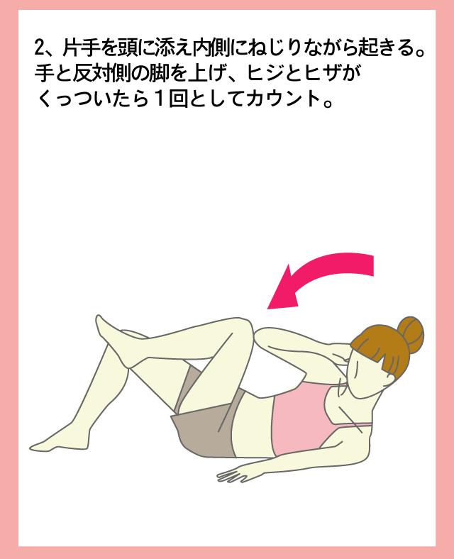 腹斜筋も同時に腹筋2