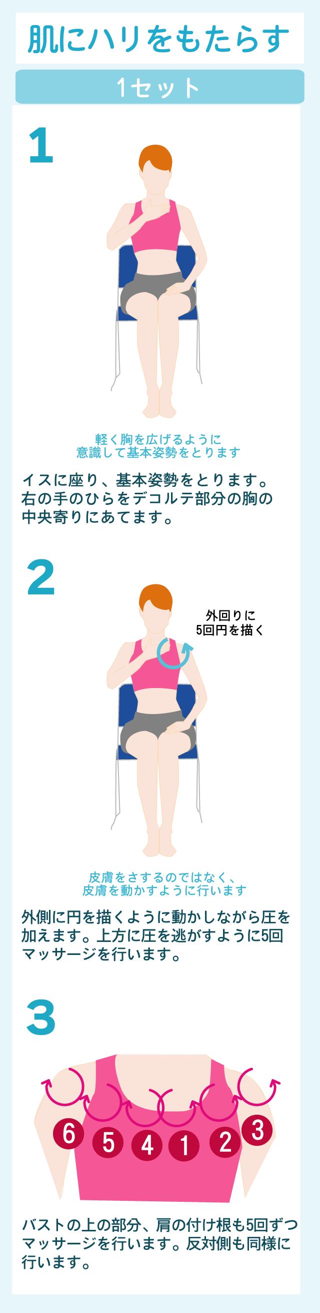 胸元周りのエクササイズとデコルテ周辺のハリを取り戻すマッサージ