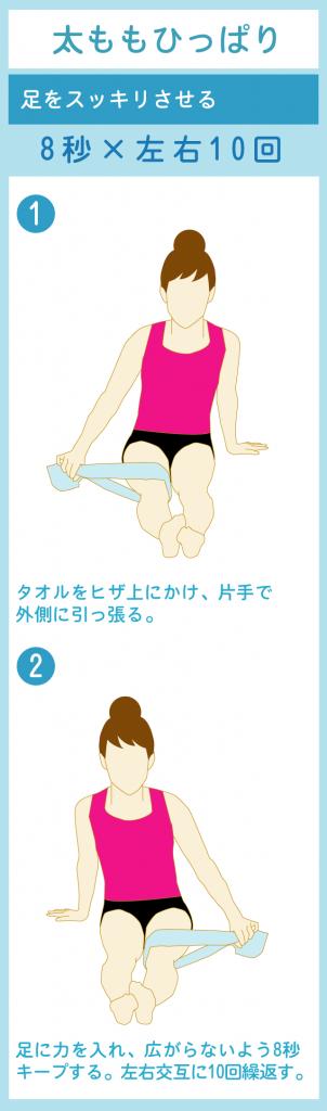 タオルを使って内転筋エクササイズ