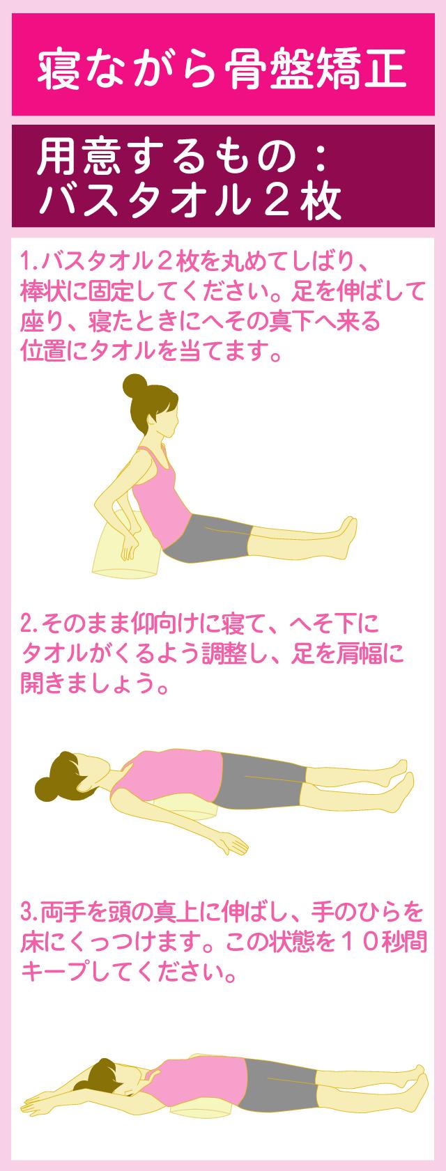 背中の筋肉をほぐす寝るだけストレッチ