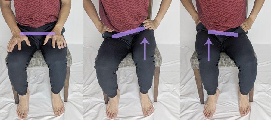 イスの上で骨盤を回旋させる簡易お尻歩きエクササイズ