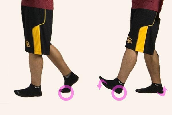 正しいウォーキングの足の運び方拡大図