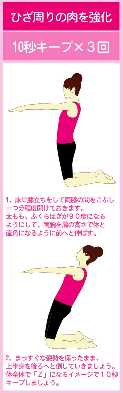 膝周りの筋肉と太もも前部を鍛えて下半身ダイエット