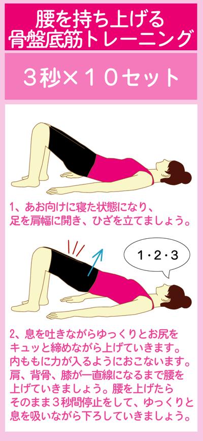 腰を持ち上げて骨盤底筋を鍛える