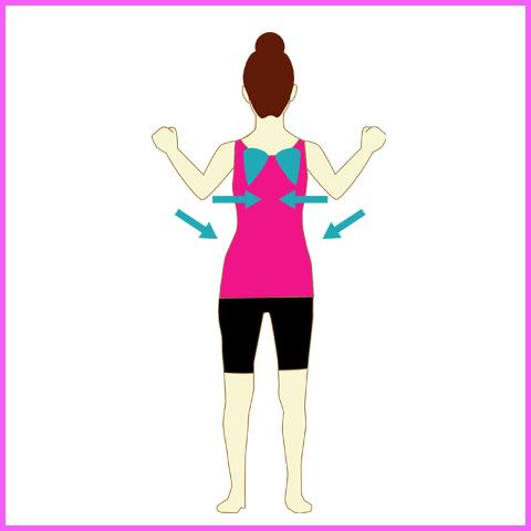 肩甲骨を閉じる運動