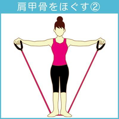 肩甲骨をほぐすチューブトレーニング2