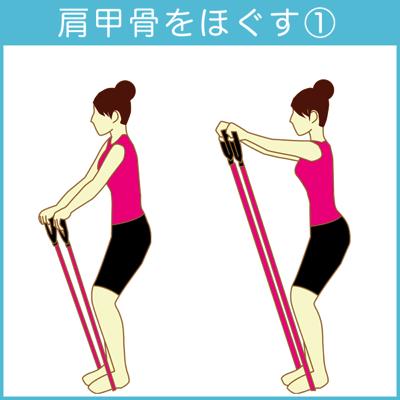 肩甲骨をほぐすチューブトレーニング1