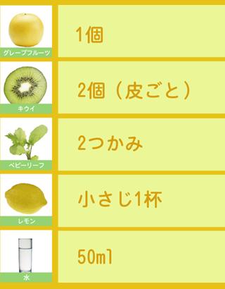グレープフルーツとキウイのグリーンスムージー