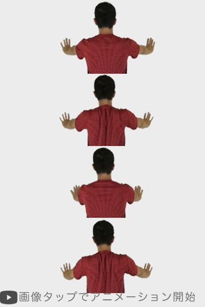 壁付き肩甲骨回しストレッチ