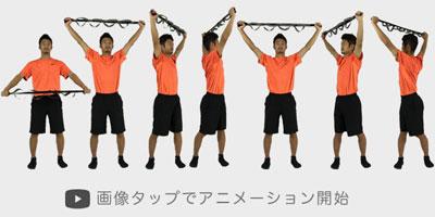 ストレッチバンドを利用した体幹部のストレッチで体を柔らかくする