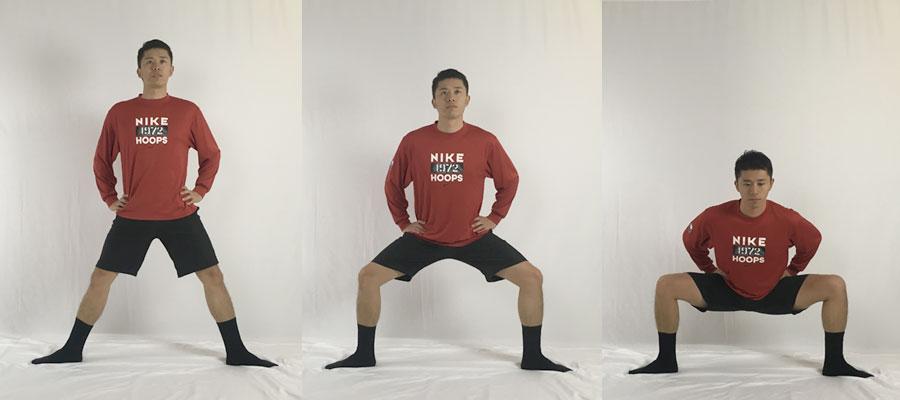 相撲スクワットで腸腰筋をほぐす