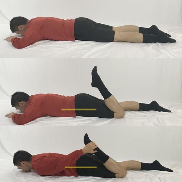 寝て行う大腿四頭筋ストレッチ