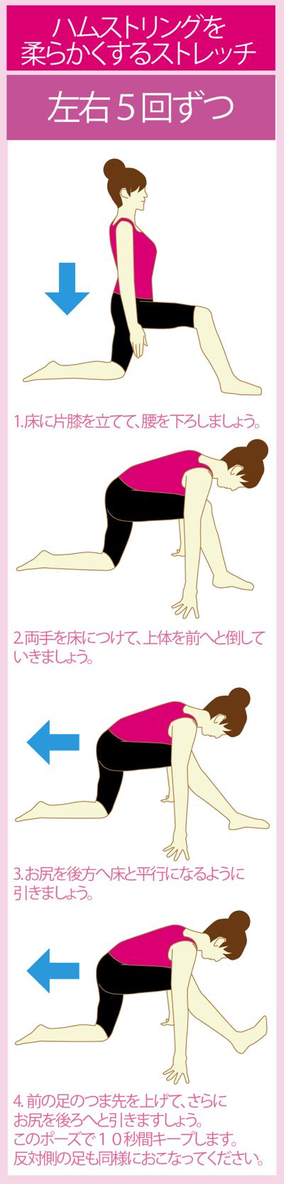 ハムストリングスの柔軟性を高める足痩せストレッチ