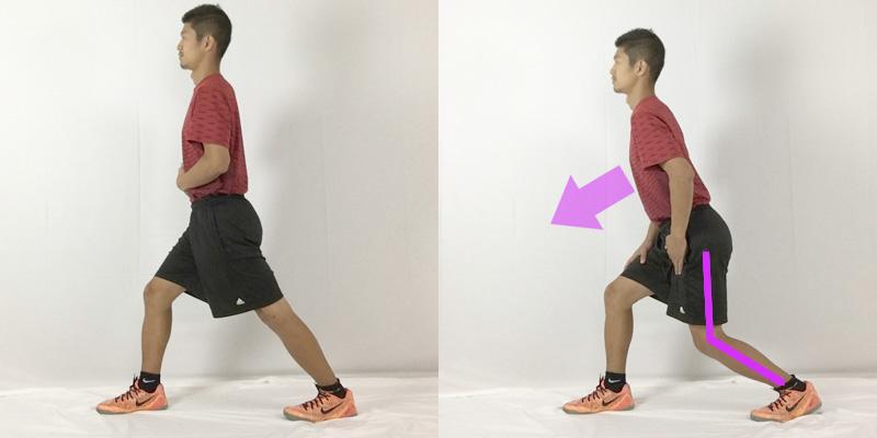 ヒラメ筋のストレッチは膝を曲げた状態で、体を前方に倒すことがポイント
