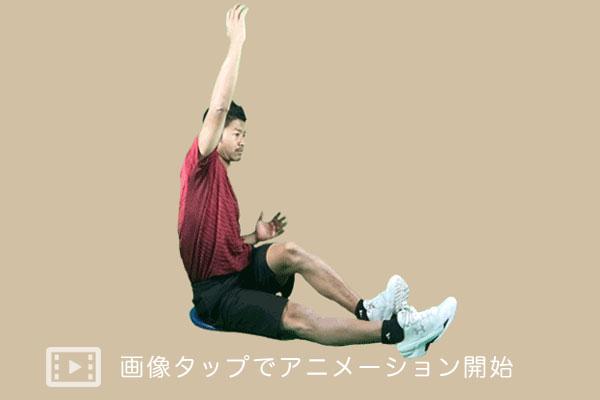 バランスディスク上で腰振り運動を行う実践アニメーション