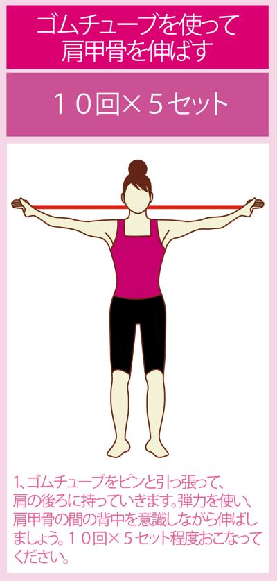 肩甲骨周辺のチューブストレッチ