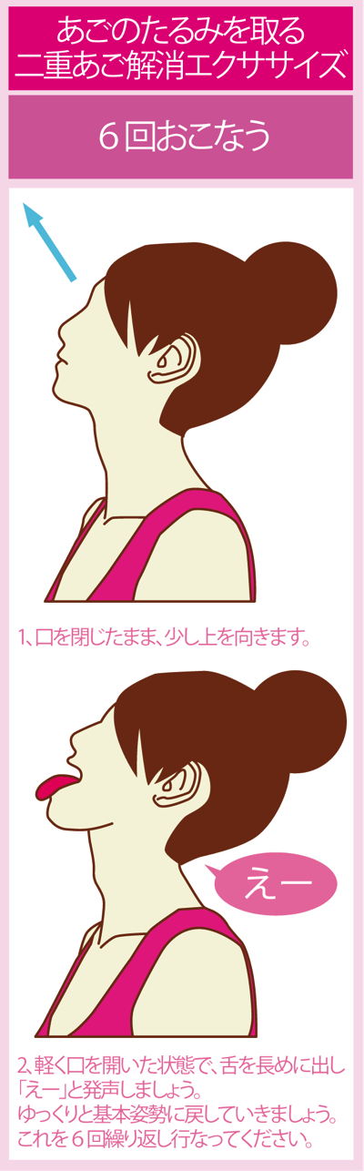 あごのたるみを取る二重あご解消エクササイズ