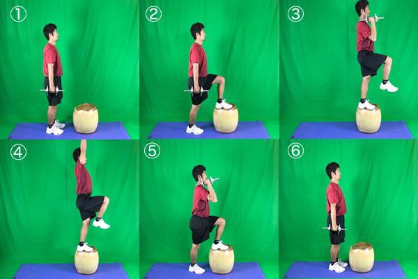 踏み台昇降運動の上級者編:ステップアップ+ダンベルプッシュプレス