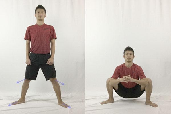 四股ストレッチで股関節をほぐす
