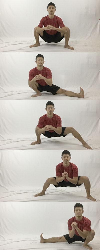 カエルストレッチから左右に体重をシフトさせて更に股関節をストレッチしていく