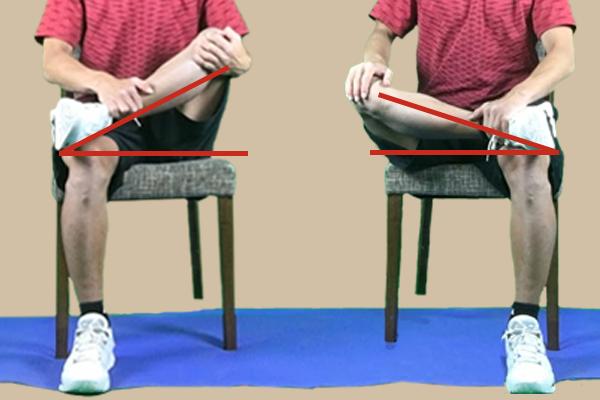 左右の膝の高さを比較して臀筋群の固い方を調べる
