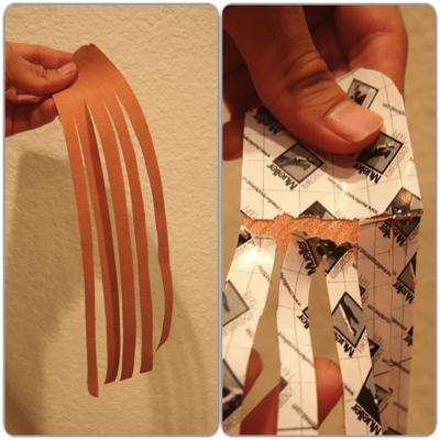 キネシオテープをタコ足状に切る