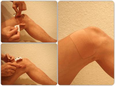 膝への簡単なキネシオテープの貼り方