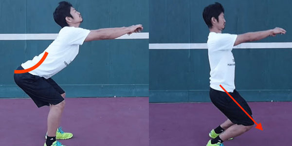 スクワット時に注意したい反り腰と膝が前に出てしまう悪いスクワット例