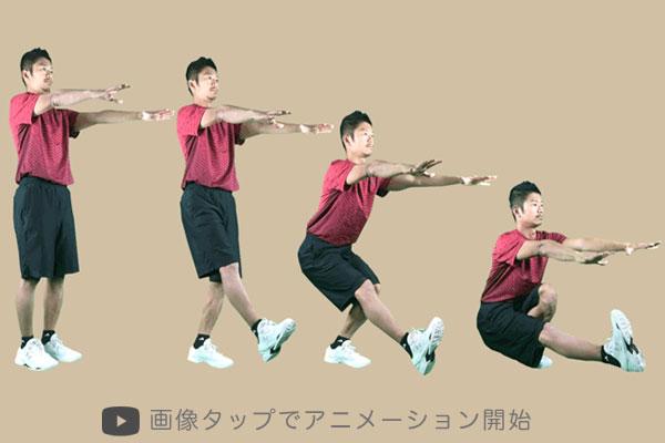 片足スクワット(ピストルスクワット)の実践方法をアニメーション画像で解説