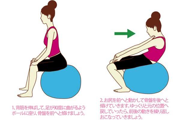 骨盤のゆがみ解消や腰まわりの筋肉をほぐすバランスボールの使い方:腰の前後運動