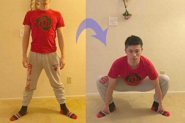 お相撲さんの四股踏みのような股関節のストレッチ方法
