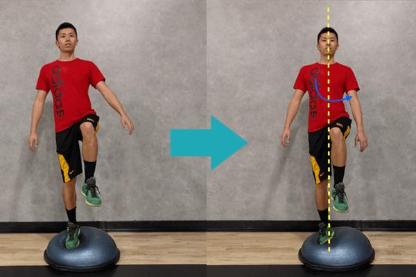 ボスボール上で片足になり、体幹をひねって体をならす