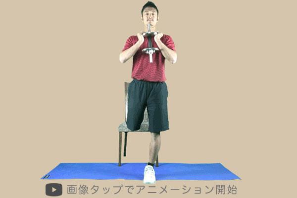 ゴブレット・ブルガリアンはダンベルを体の前方に持って行う