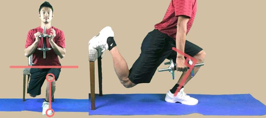 ブルガリアンスクワットの注意点の骨盤の位置と膝の方向と膝の角度