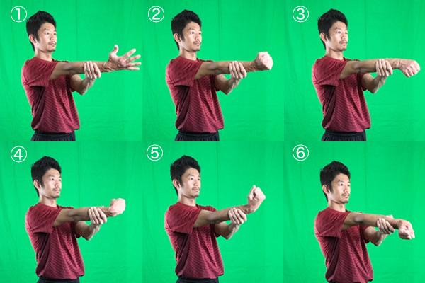 腱鞘炎の緩和に役立つ手首回しストレッチ一連の動き画像