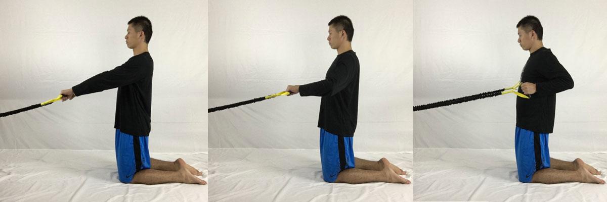 膝つきローイングで肩周辺の筋肉を鍛えて肩こりを改善する