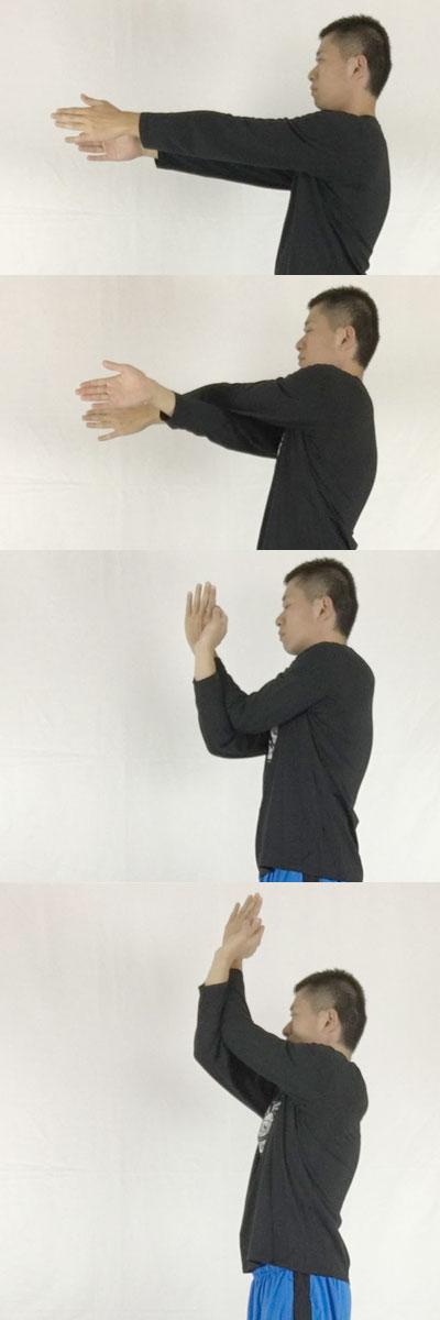 ヨガのワシのポーズで菱形筋、三角筋、僧帽筋をほぐして肩こりを改善するストレッチ