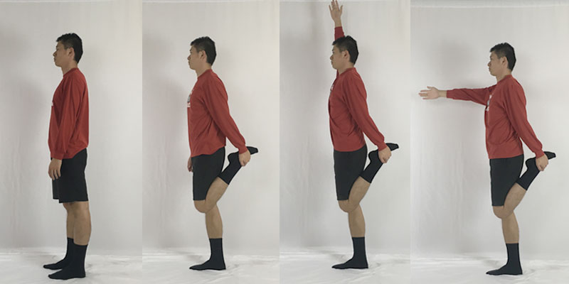 ダイナミックに行う大腿四頭筋ストレッチ