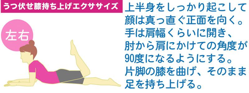 うつ伏せ膝持ち上げエクササイズでヒップアップの筋トレ